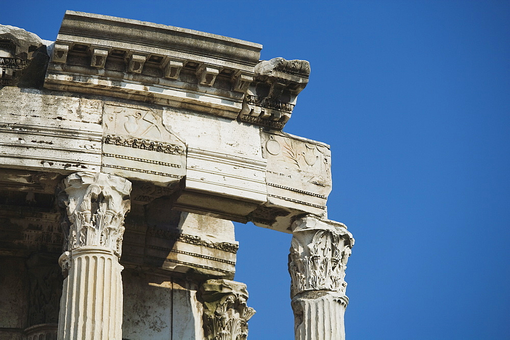 Close up of Temple of Vesta, Roman Forum, Italy