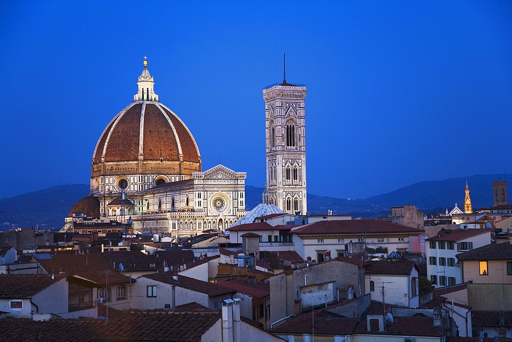 City rooftops and the Duomo Santa Maria Del Fiore, Florence, Italy