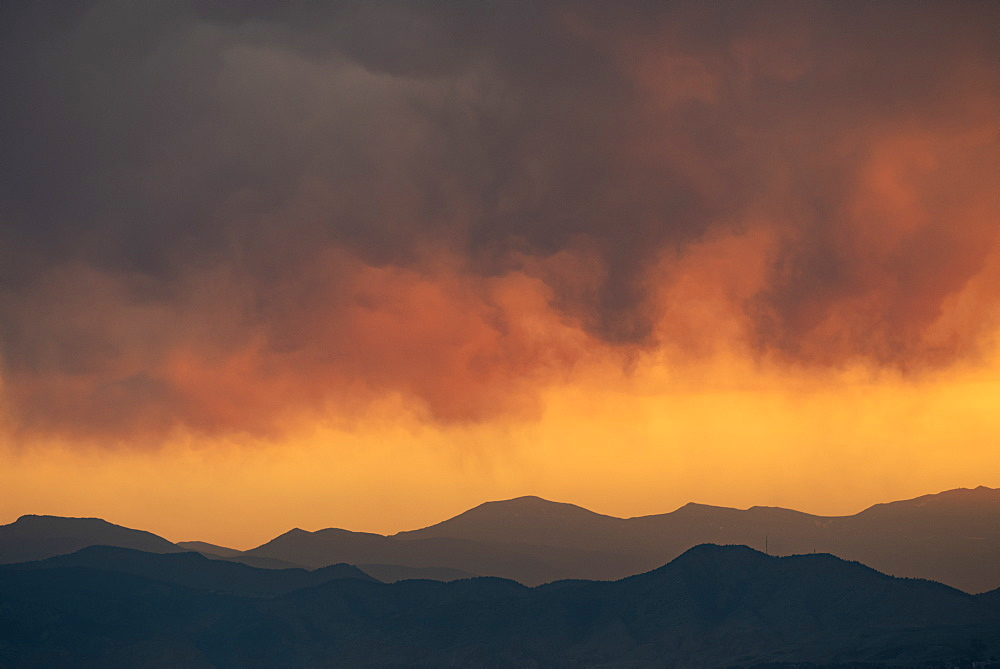 Sunset over mountains in the Front Range, Denver, Colorado