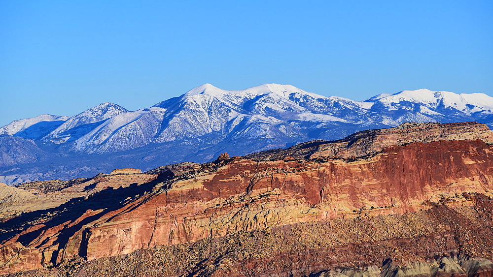 Rock formations and mountain landscape in Capitol Reef National Park, USA