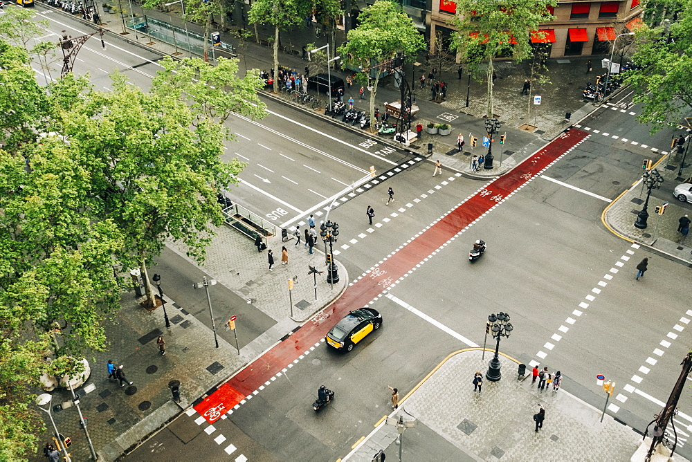 High angle view of street in Barcelona, Spain
