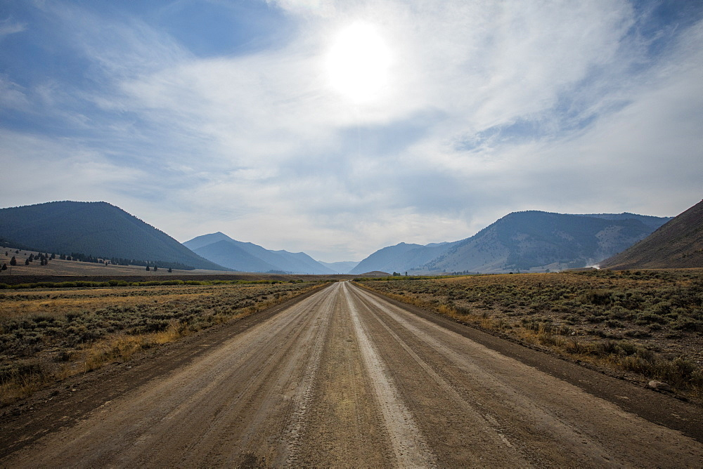 Dirt road through Sun Valley, Idaho, USA