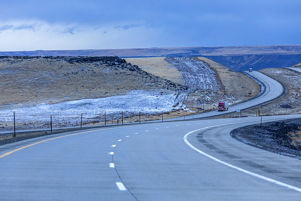 Highway during winter in Glenns Ferry, Idaho