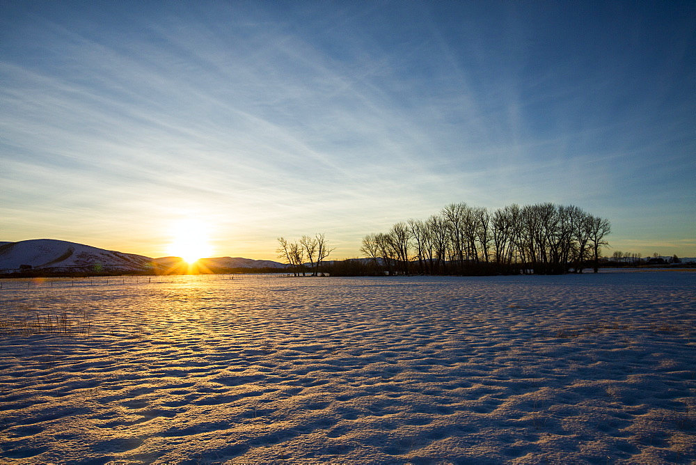 Snow field at sunset in Picabo, Idaho