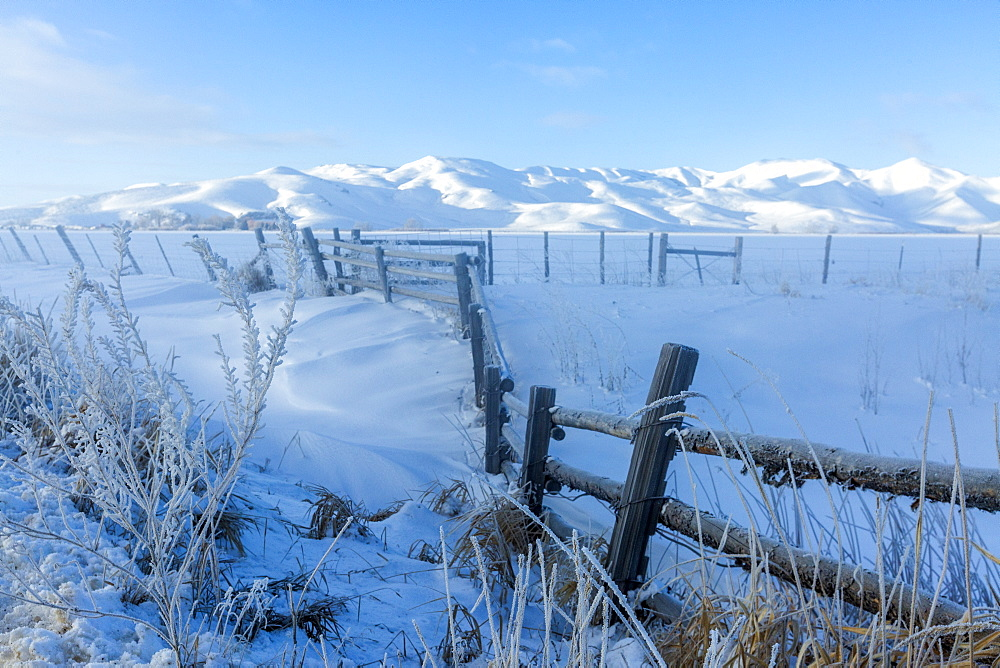 Fence and snow field during winter in Picabo, Idaho