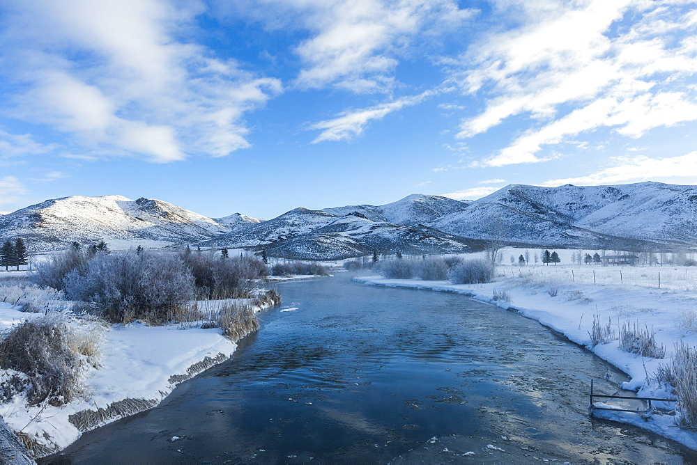 River during winter in Picabo, Idaho