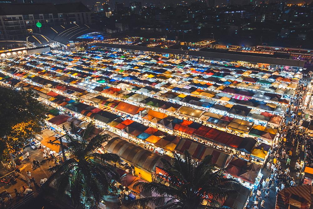 High angle view of night market in Bangkok, Thailand