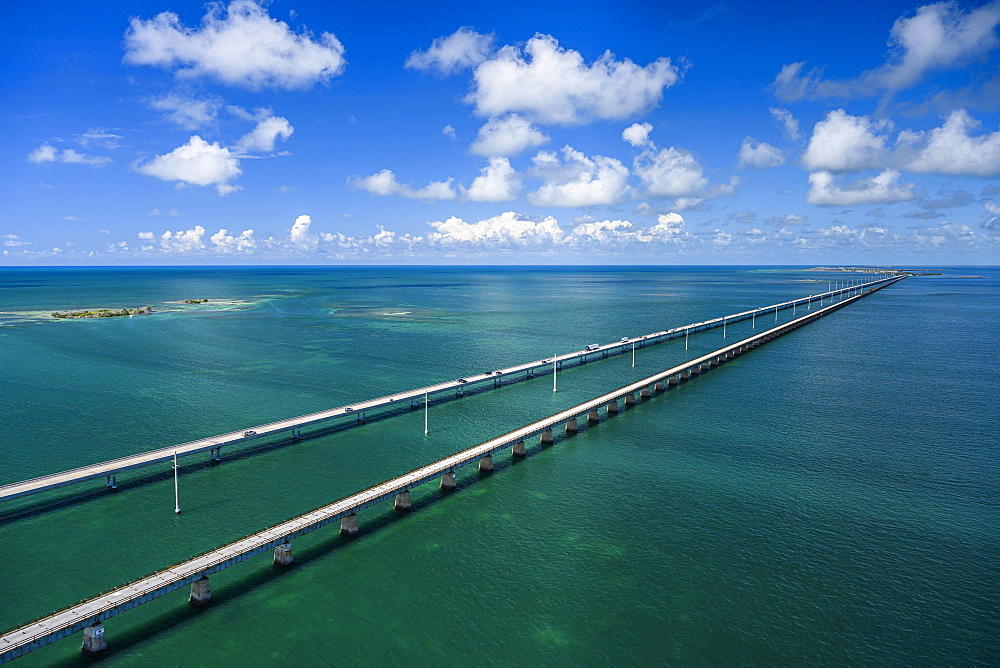 Aerial view of Seven Mile Bridge in Florida Keys, USA