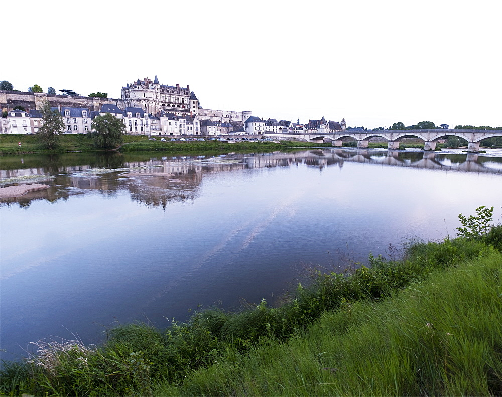 Amboise town by river in Loire Valley, France