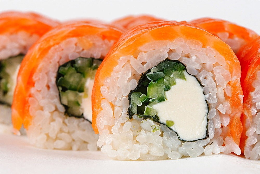 Sushi with salmon and cream cheese