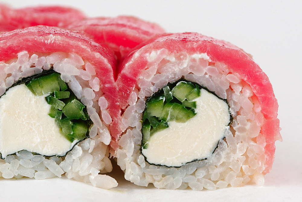 Sushi with raw fish and cream cheese
