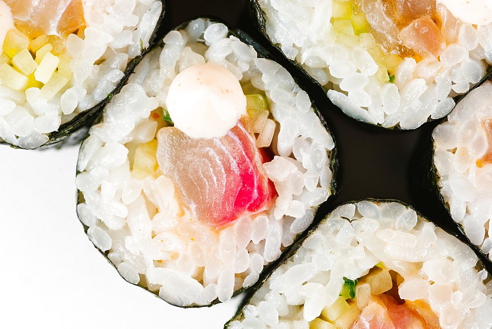 Sushi with raw fish and mayonnaise