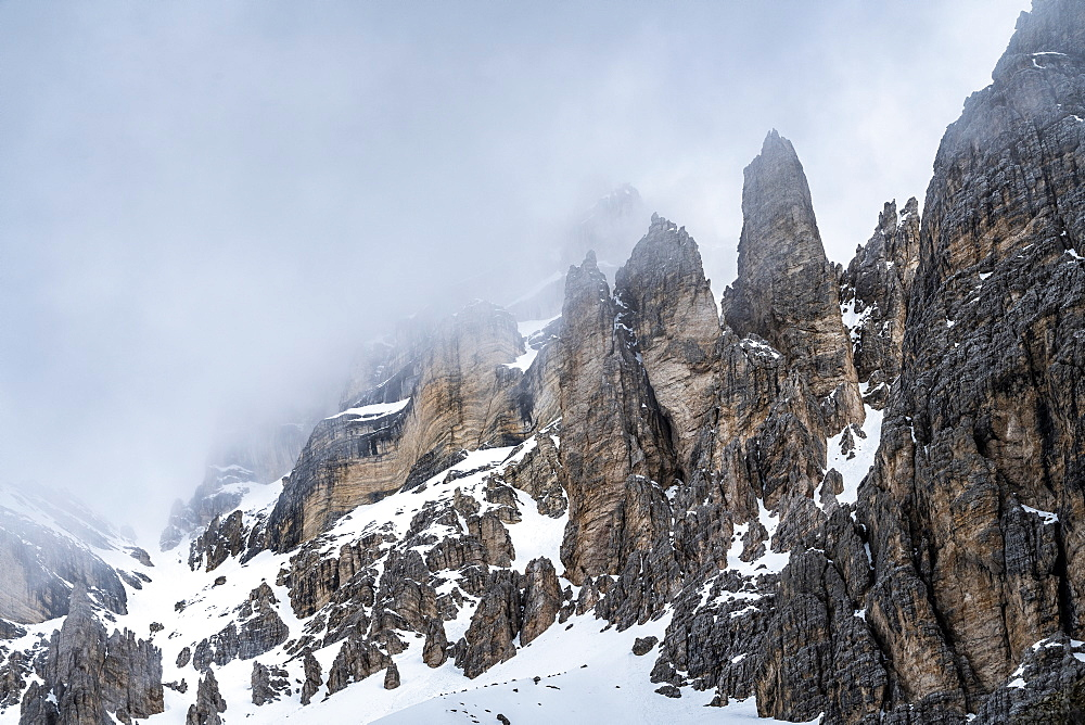 Cloud over Dolomite mountains, Passo Giau, Belluno, Italy