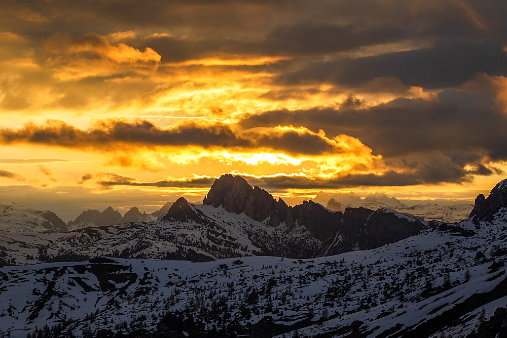 Mountain landscape at sunset in Dolomites, Passo Giau, Belluno, Italy