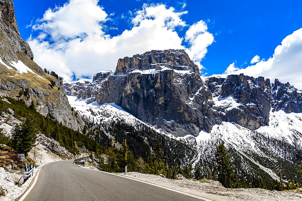 Mountain road in Dolomites, Canazei, South Tyrol, Italy