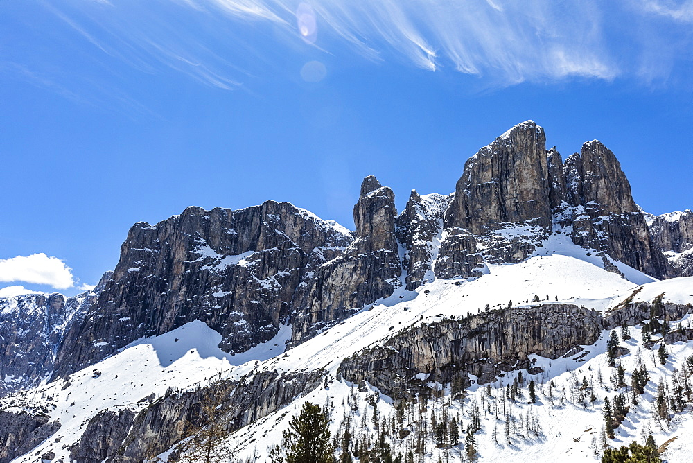 Mountain peaks in Dolomites, Canazei, South Tyrol, Italy