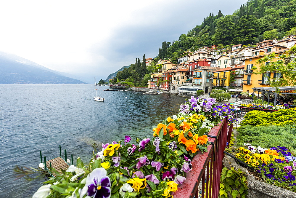 Flowers in town of Varenna by Lake Como, Italy