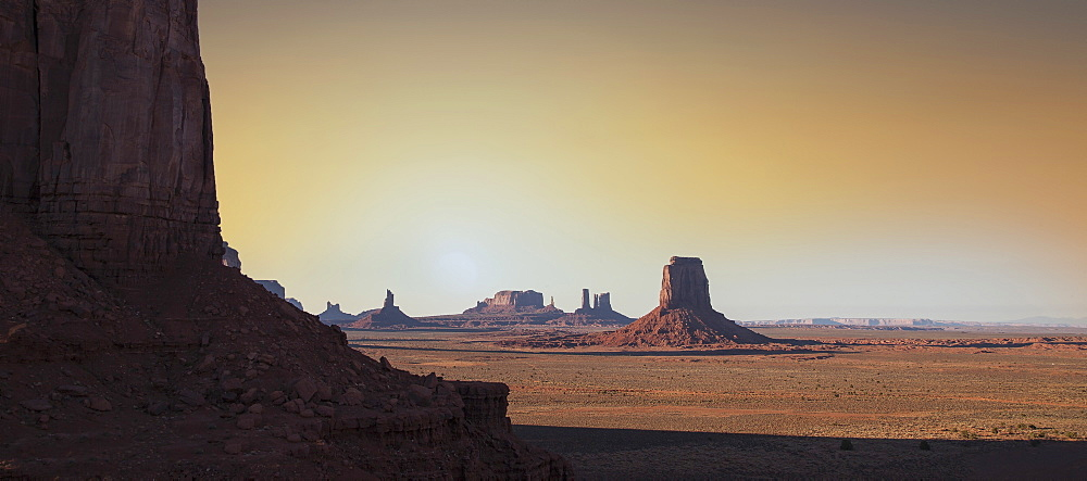Rock formations at sunset in Monument Valley Navajo Tribal Park, USA