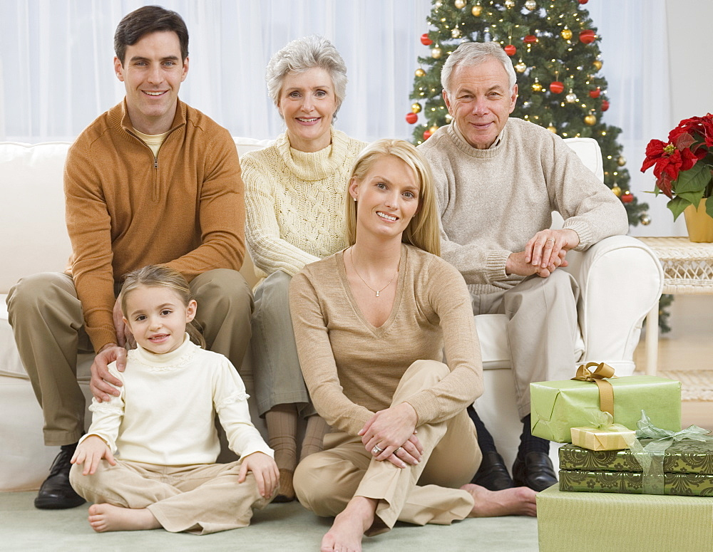Portrait of multi-generational family on Christmas