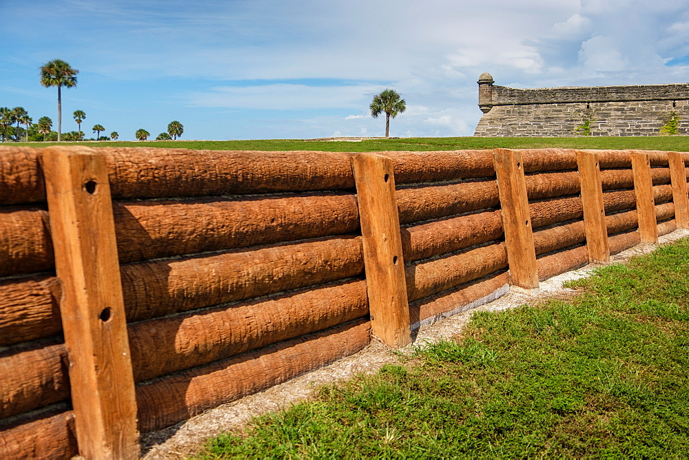 Wooden fence by Castillo de San Marcos in St. Augustine, USA