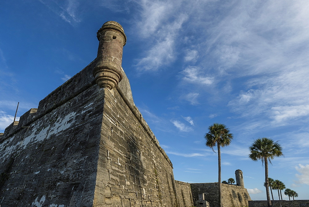 Palm trees by Castillo de San Marcos in St. Augustine, USA