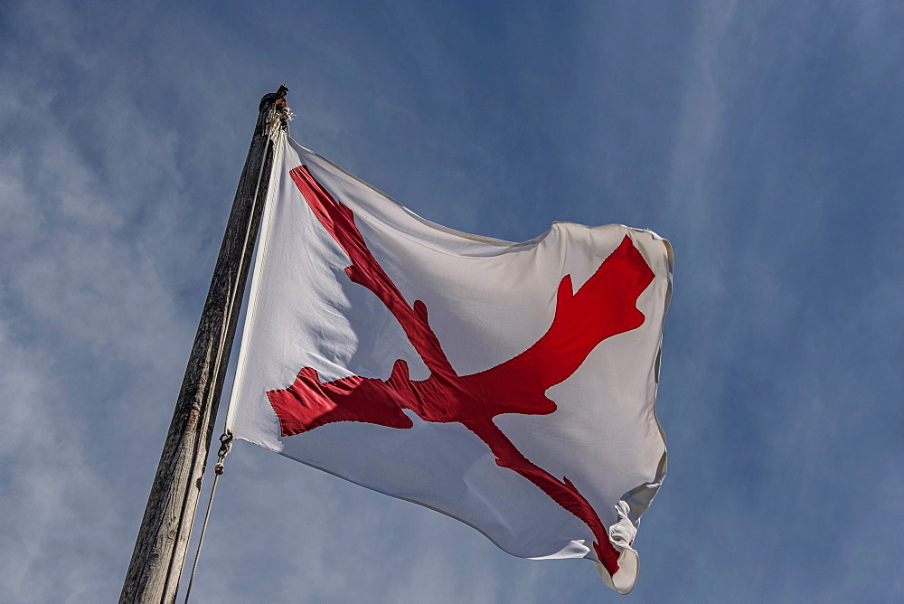 Cross of Burgundy flag at Castillo de San Marcos in St. Augustine, USA