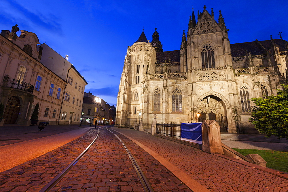 St. Elisabeth Cathedral at sunset in Kosice, Slovakia