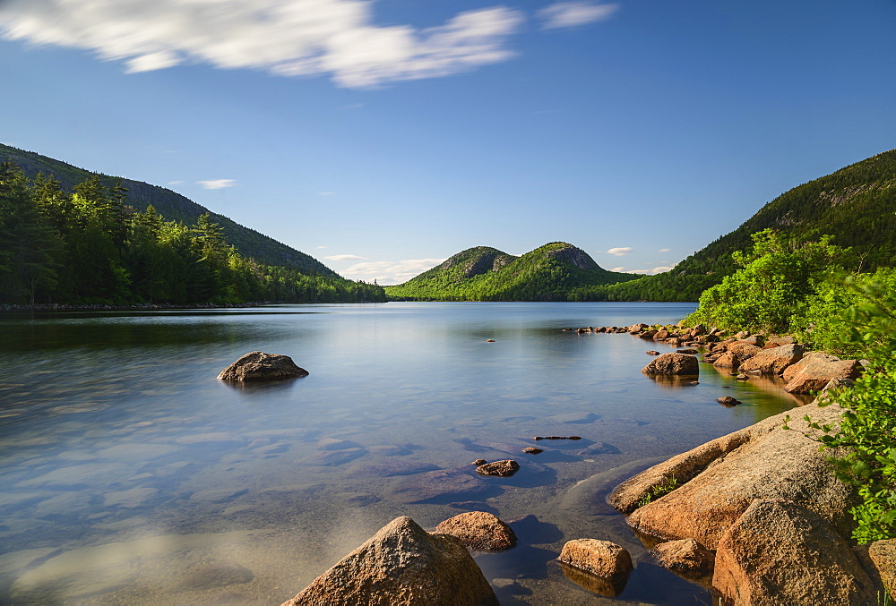 Long exposure shot of Jordan Pond, Acadia National Park, USA