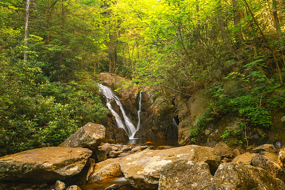 Waterfall over rocks in Grayson Highlands State Park, USA