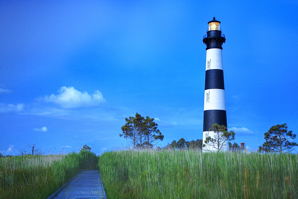Bodi Island Lighthouse at sunset in North Carolina, USA