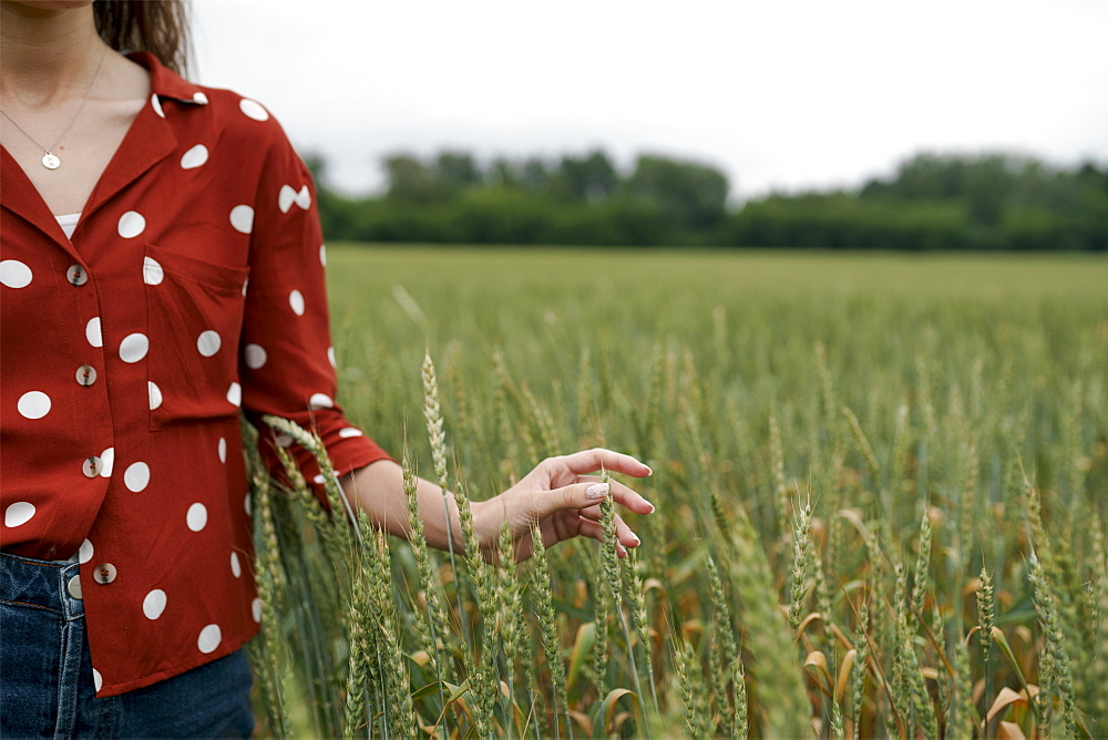 Woman wearing red polka dot shirt in wheat field