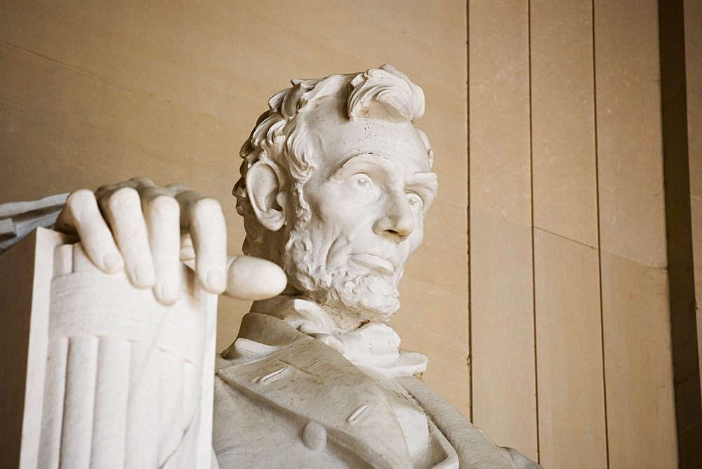 Close up detail of face at Lincoln Memorial Washington DC USA