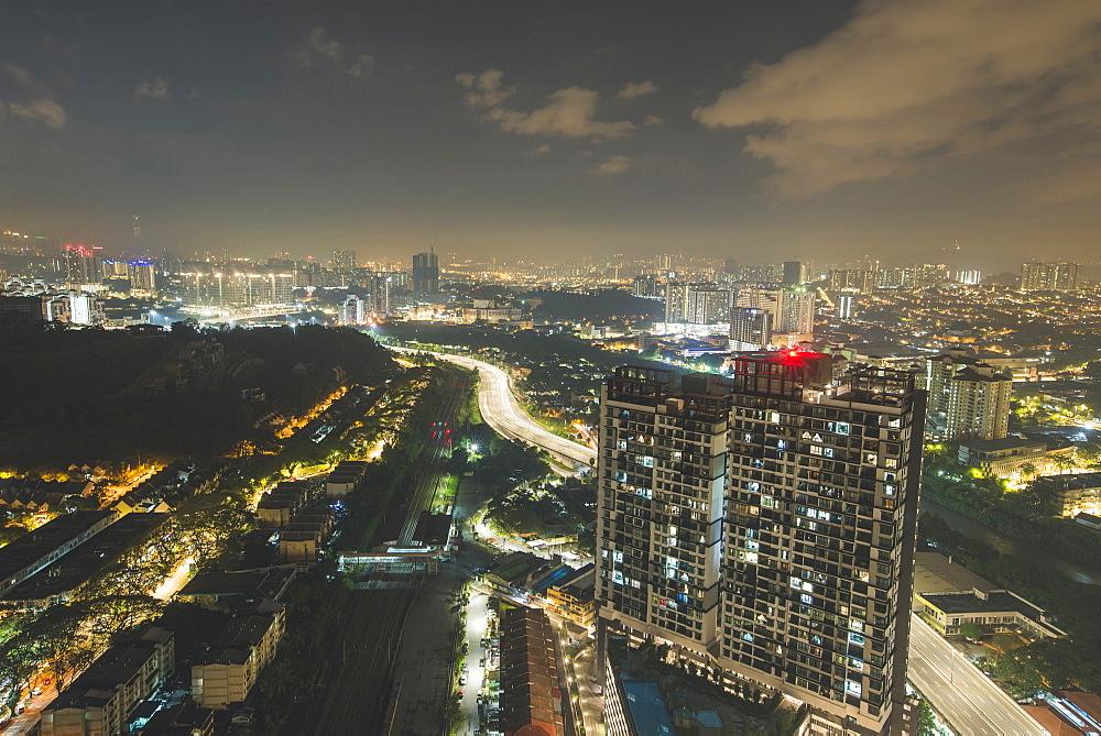 Cityscape at night in Kuala Lumpur, Malaysia