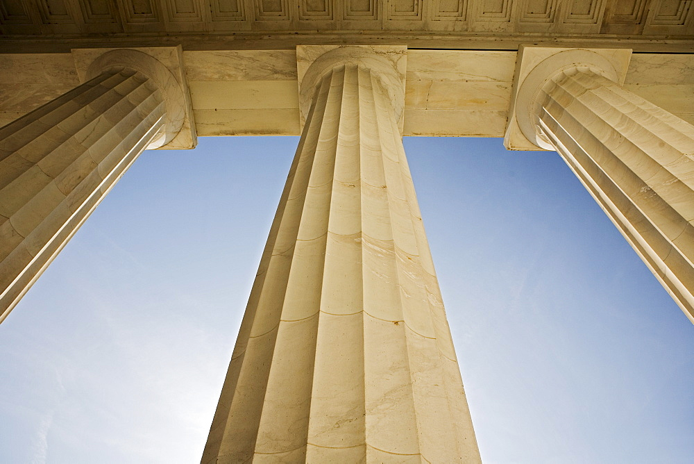 Doric columns at the Lincoln Memorial Washington DC USA