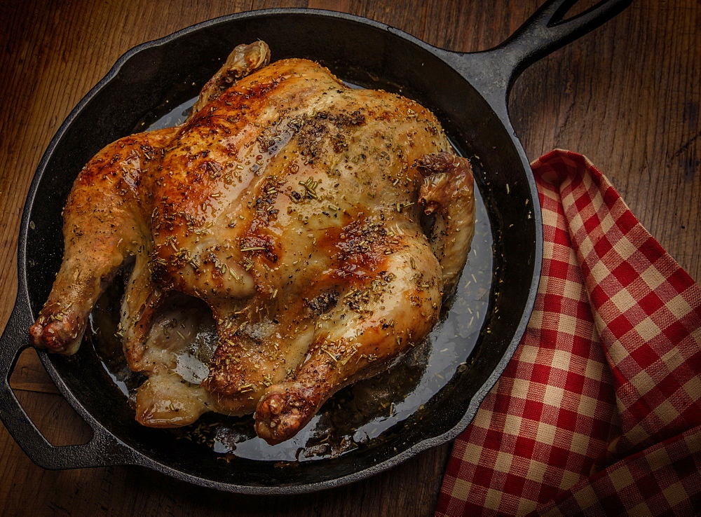 Roast chicken in frying pan