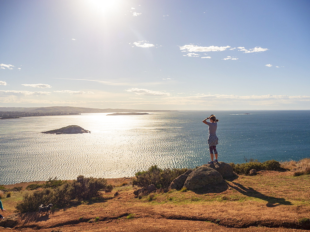Woman looking at view of Victor Harbor, South Australia, Australia - 1178-27855