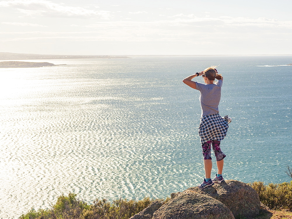 Woman looking at view of Victor Harbor, South Australia, Australia - 1178-27856
