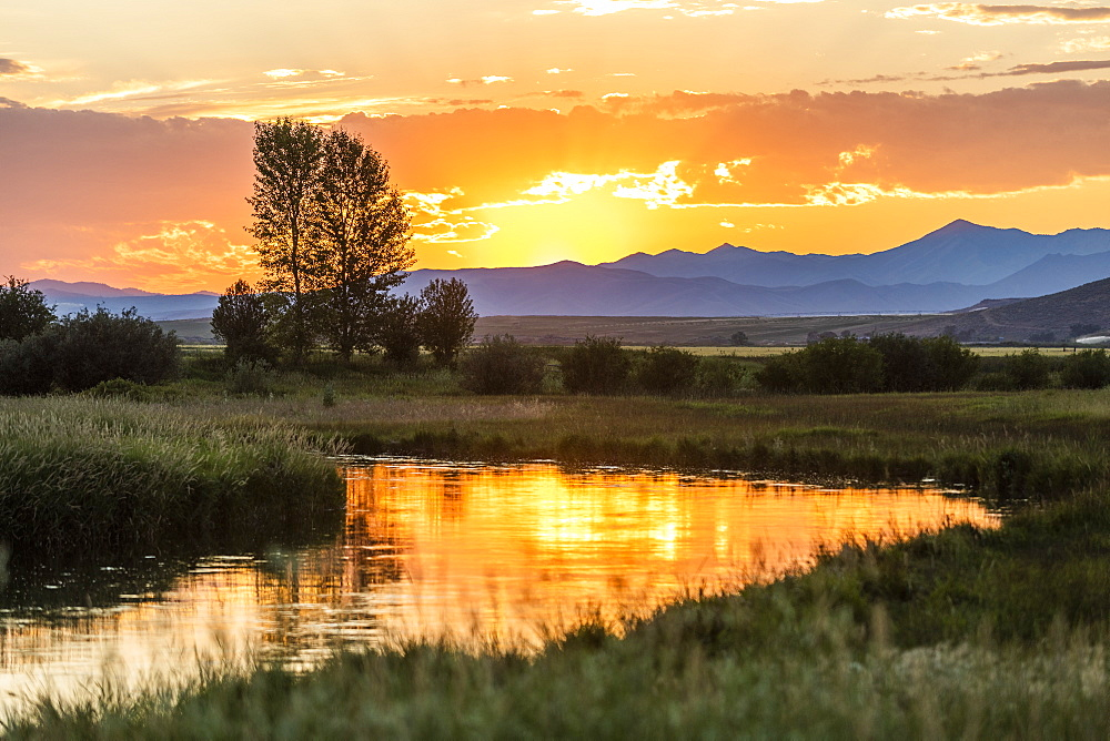 River at sunset in Picabo, Idaho, USA - 1178-27897