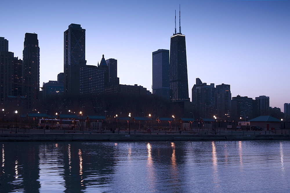 Skyline at sunrise with Lake Michigan Chicago Illinois USA
