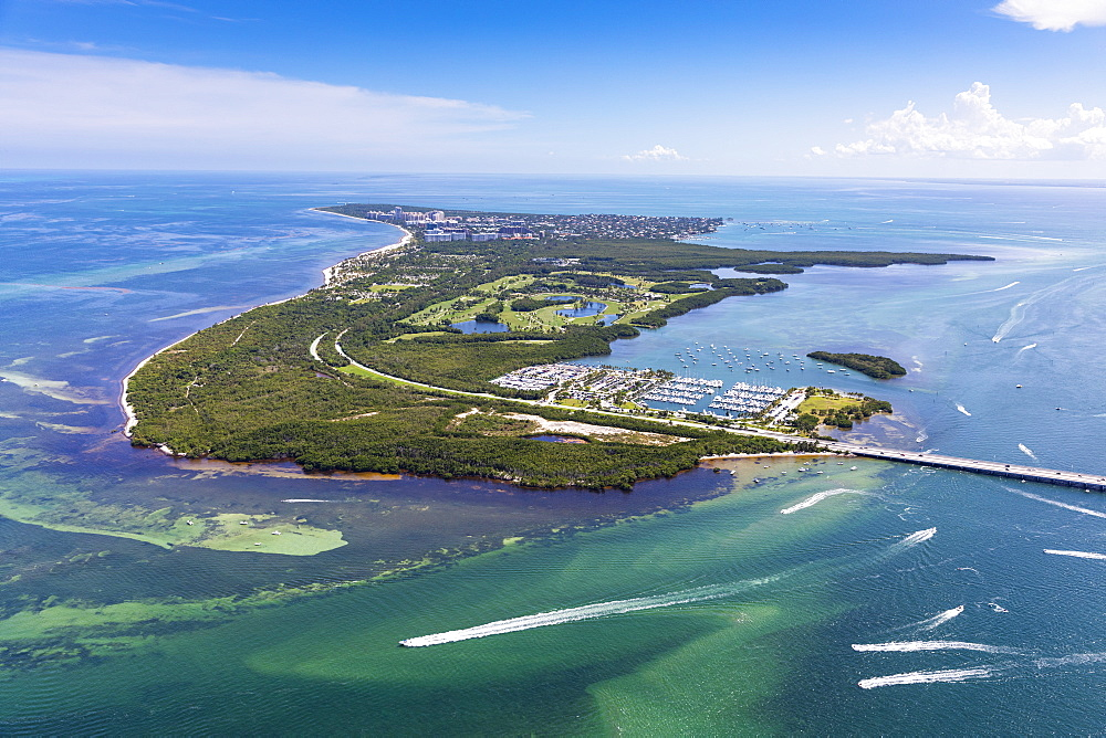 Aerial view of peninsula in Key Biscayne, Florida, United States of America