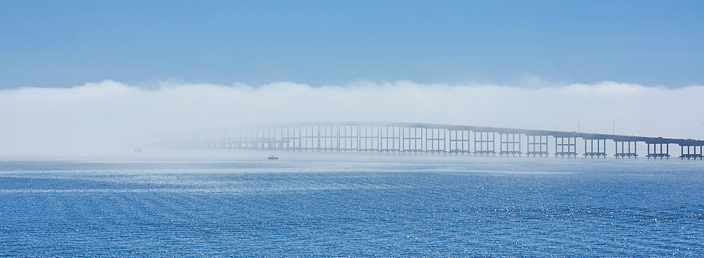 Bridge over sea in fog in Key Biscayne, Florida, United States of America