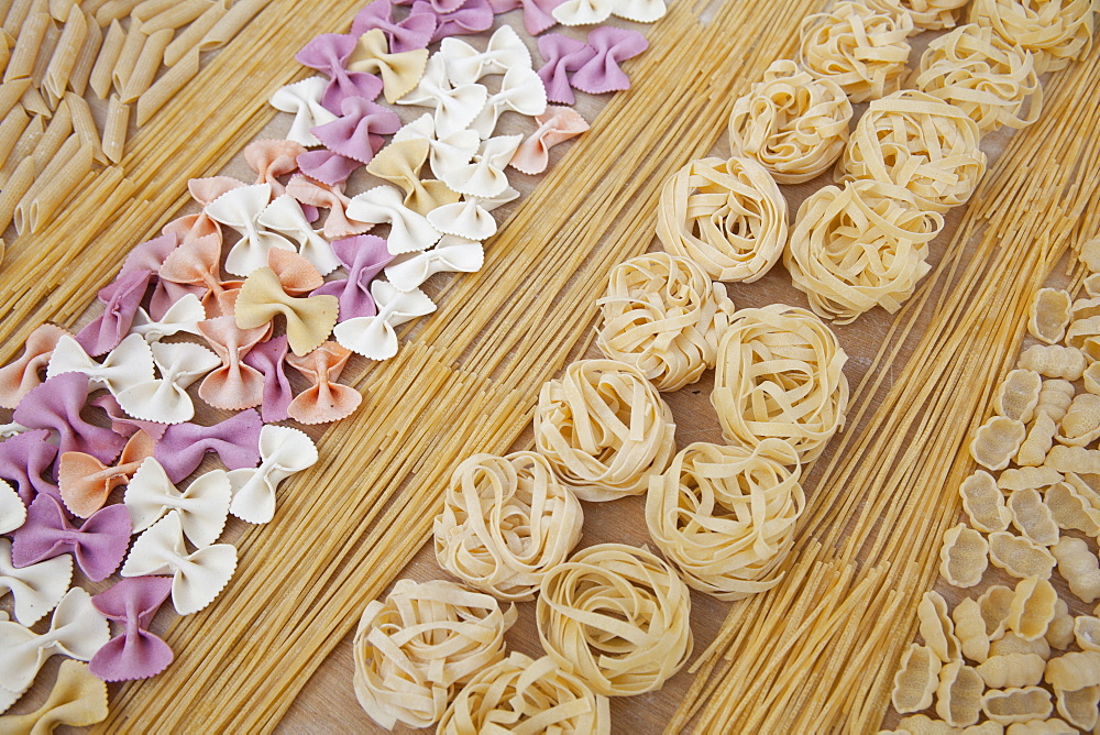 Assorted uncooked pasta in rows