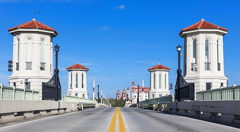 White towers by road in Saint Augustine, Florida, United States of America