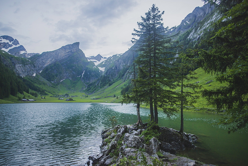 Seealpsee lake in Appenzell Alps, Switzerland