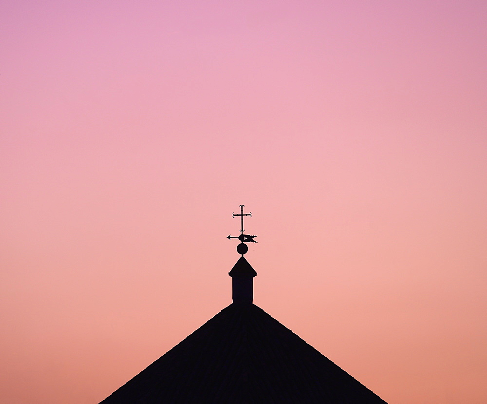 Silhouette of church roof at sunset in Seville, Andalusia, Spain