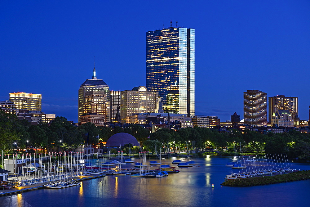 City skyline with harbor in Boston, Massachusetts, United States of America