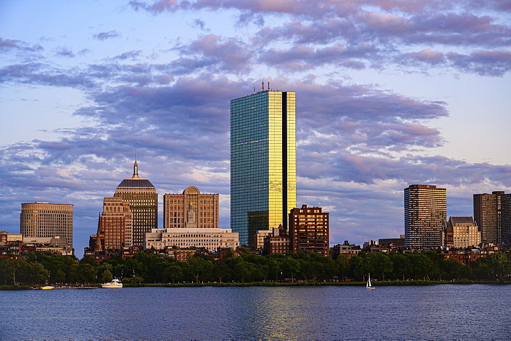 City skyline at sunset in Boston, Massachusetts, United States of America