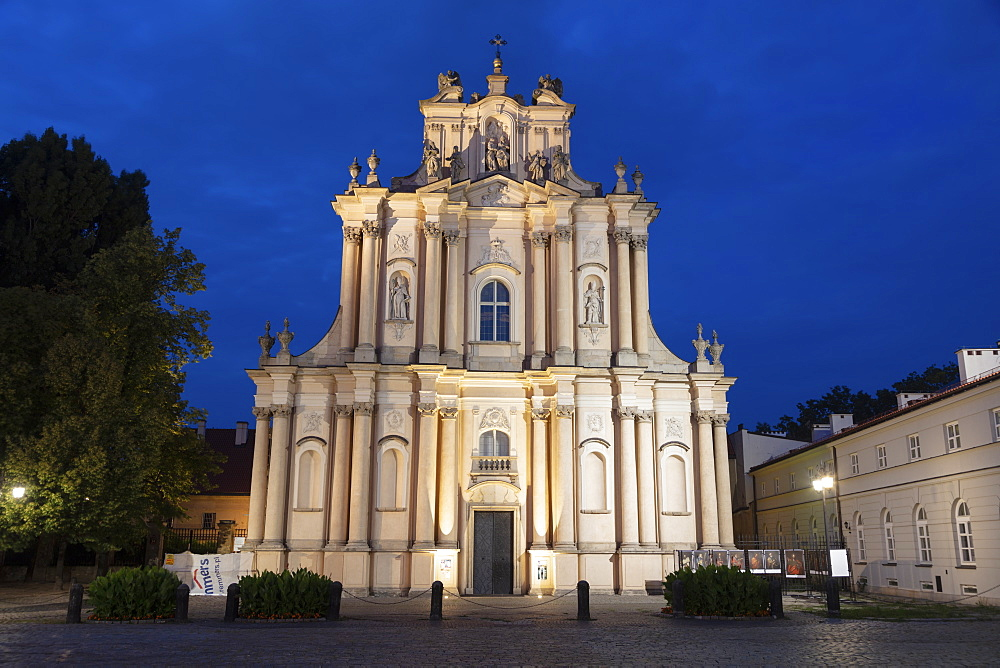 Visitationist Church at night in Warsaw, Masovia, Poland