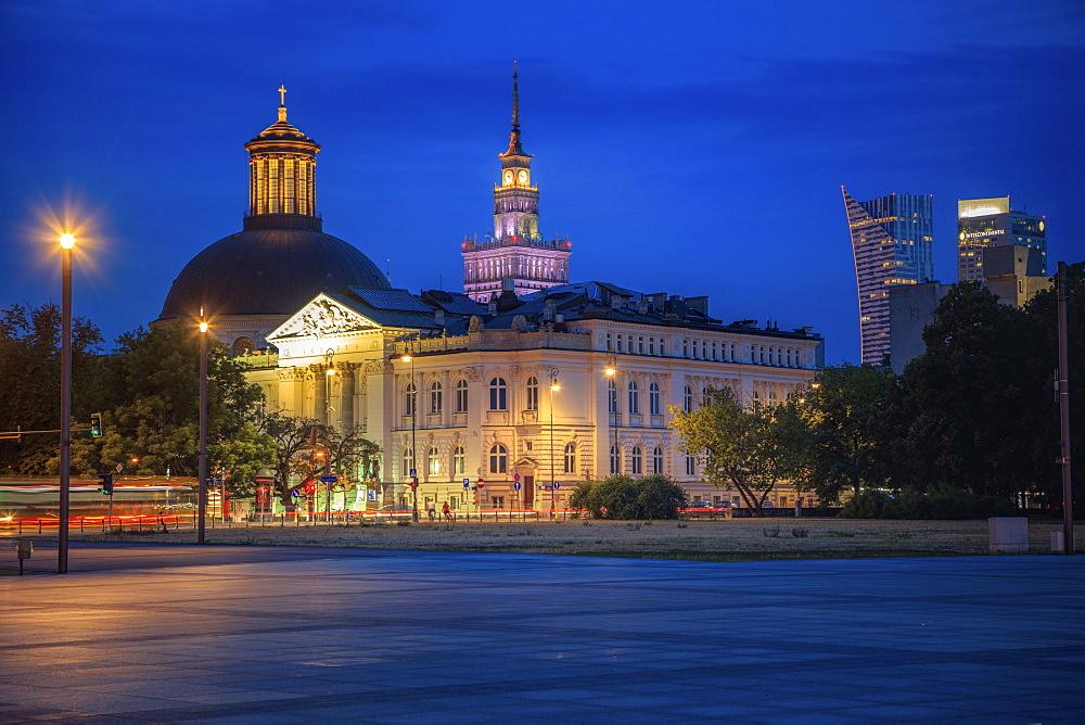 Holy Trinity Church behind Zacheta National Gallery Of Art in Warsaw, Masovia, Poland