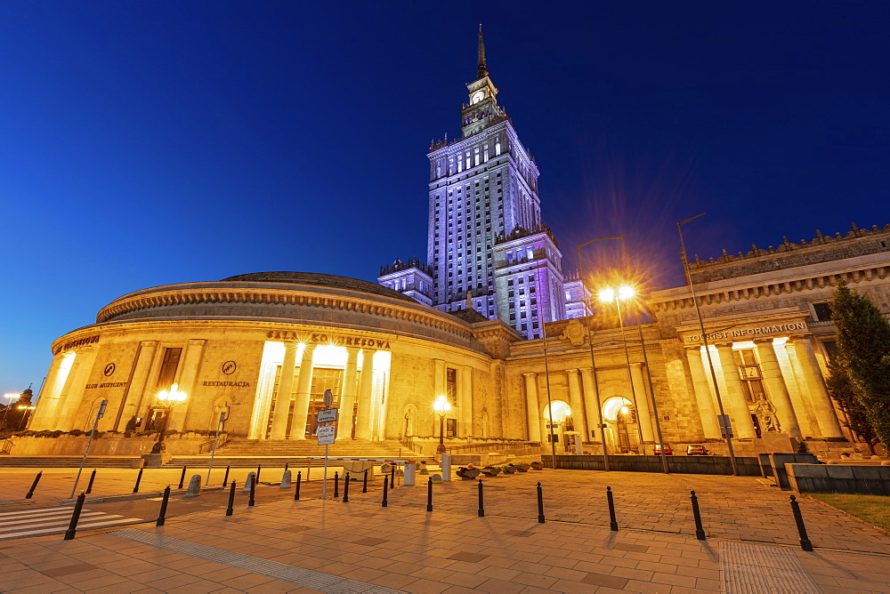 Palace of Culture and Science behind Congress Hall in Warsaw, Masovia, Poland